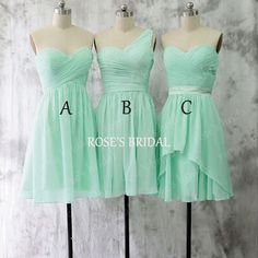 Mismatch Short Mint Green Bridesmaid Dresses, Chiffon Bridesmaid ...