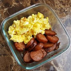LCHF Breakfast Foods: BBQ Smoked Sausage & Scrambled Eggs