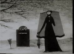 "Edward Gorey drawings animated by Derek Lam for the opening of 'Mystery"" on PBS television in the 1980′s."