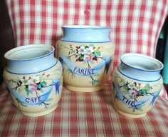 Antique French Ceramic CANISTERS CREIL MONTERAU Ribbons & Roses hand painted di villavillacolle su Etsy
