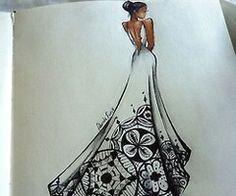 Wedding dress, fashion illustration, dress, artbook, drawings, art