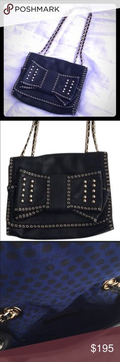 Rebecca Minkoff Sweetie Bow Bag. Rebecca Minkoff Sweetie Bow Bag. Black soft leather with gold grommets and studs. Woven gold and black chain can be worn as double handle for shoulder bag or as single strap for crossbody. Magnetic snap closure. Very gently worn. Rebecca Minkoff Bags Shoulder Bags