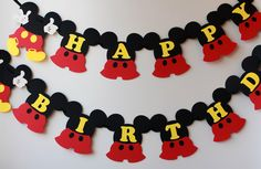 Mickey Mouse Birthday Banner, Mickey Banner, Mickey Mouse Birthday, Party Decorations, Mickey Birthday Banner, Mickey Party Garland by RaisinsPartySupplies on Etsy https://www.etsy.com/listing/228722746/mickey-mouse-birthday-banner-mickey
