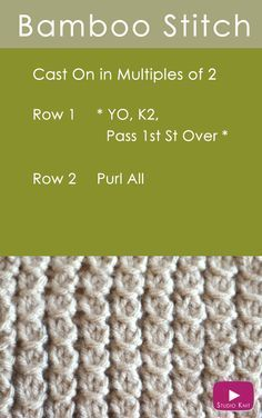 How to Knit the Bamboo Stitch Easy Free Knitting Pattern with Studio Knit via @StudioKnit Knit Stitches, Knitting Stitch Patterns, Rib Stitch Knitting, Knit Patterns, Knitting Help, Knitting Videos, Knitting Stiches, Knitting Charts, Knit Scarves Patterns Free