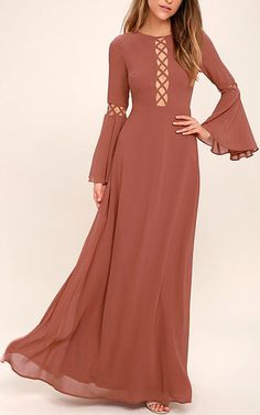 Now Is The Time Rusty Rose Long Sleeve Maxi Dress via @bestmaxidress