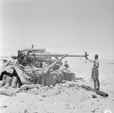 German 88mm anti-tank gun captured and destroyed by New Zealand troops near El Alamein 17th July 1942