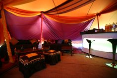 Furniture and bar in a stretch tent