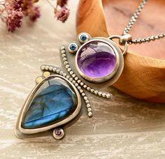 Labradorita collar de plata joyas de amatista topacio azul
