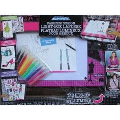 Project Runway by Project Runway. $18.99. Project Runway Fashion Design Light Box Lapdesk. Lights up to trace and design your fashions. 200+ Piece set. Design shoes and accessories, Decorate this folder to store your design.. Includes light-box lap desk, 15 traceable films, 25 fashion design sketch sheets, 129 stickers, 20 drawing sheets, 10 markers, 3 glitter paints, sequins, folder, and instructions.