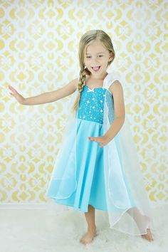 Elsa dress princess dress Frozen birthday party dress or portrait on Etsy, $62.00