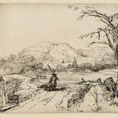 """Rembrandt, Landschap met man met twee honden (""""Het jagertje"""") (B 211), 1653. Teylers Museum"""