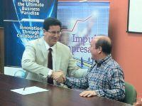 Alianza estratégica con el Corredor Tecnológico del Este (PRTEC).  Francisco Santana (ASOPYMES) y Nelson Perea (PRTEC).