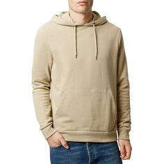 Topman Pullover Hoodie ($40) ❤ liked on Polyvore featuring men's fashion, men's clothing, men's hoodies, stone, mens hoodies and mens sweatshirts and hoodies