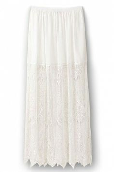 Hallow out Lace Maxi Skirt in White
