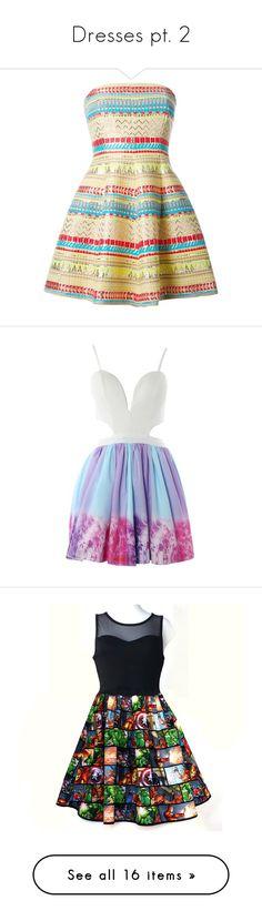 """Dresses pt. 2"" by hotlinejenn ❤ liked on Polyvore featuring dresses, kleider, vestido, multicolour, zip back dress, strapless chevron dress, chevron print dress, circle skirt, philipp plein and galaxy print dress"