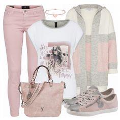 Schöner, sanfter Frühlingslook aus rosa Jeans, weißem Shirt und einem schönen Strickcardigan... #rosa #grau #fashion #frauenoutfit #damenoutfit #handtasche #surifrey