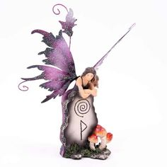 Wholesale Fairy Figurines | Fairy with Mythic Standing Stone D Figurine Legends of Avalon Fairy Statues, Fairy Figurines, Cloak, Magenta, Legends, Christmas Ornaments, Stone, Holiday Decor, Rock