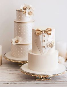 The Chic Technique: Gold and White Bride & Groom Wedding Cakes Fondant Wedding Cakes, Fondant Cakes, Wedding Cake Toppers, Cupcake Cakes, Amazing Wedding Cakes, Elegant Wedding Cakes, Wedding Cake Designs, Elegant Cakes, Wedding Ideas
