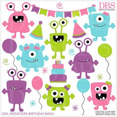 monster aliens clipart clip art birthday party  by PaperiePixel