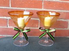 Wedding Votive Candle Holder / Fall by CarolesWeddingWhimsy, $19.99, set of 2, Martini Glass Votive Candle Holders....in the colors of the splendor of Fall.  This set is perfect as a votive candle holder, but even better as a floating candle holder.  Heck, you can even make this Fall Wedding Decoration ... Wedding Martini Toasting Glasses for the couple who prefers to toast with their favorite martini!  Check them out here…