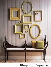 Great idea for cheap wall art.  Get old used frames and spray paint them in a color theme to tie them together :-)