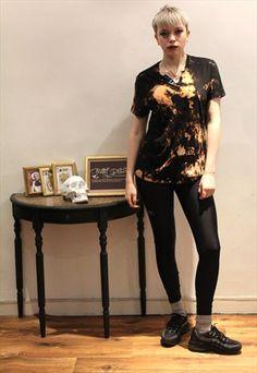 69768198f7df5 £8.00...90 s black grunge punk tie dye slouchy unisex t-shirt