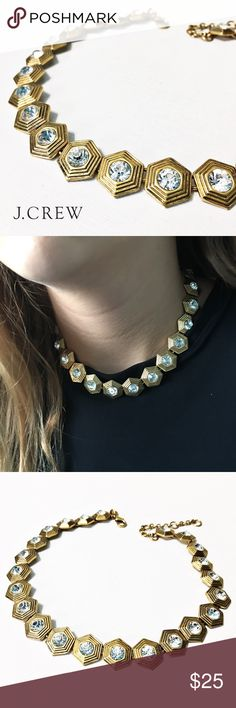 """J. Crew Hexagon Crystal Necklace This necklace is SO sparkly! Pre-worn but in excellent condition. 14-1/2"""" with a 3"""" extender chain. Questions? Please ask. Sorry, no trades. Bundle for a discount! J. Crew Jewelry Necklaces"""