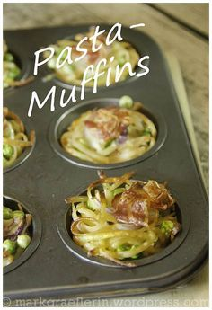 The best of leftovers: pasta muffins - Hauptgericht - Makaron Baby Food Recipes, Pasta Recipes, Appetizer Recipes, Chicken Recipes, Dessert Recipes, Baby Shower Mixto, Lemon Pasta, Mezze, How To Cook Pasta