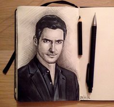 This is just beautiful congratulations to the artist Tom Ellis Lucifer, Fantasy Drawings, Morning Star, Face Art, Teen Wolf, Devil, Cool Art, Art Projects, Fandom