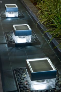 Light + water sculptures at Playa del Rey Residence, California by Water Studios