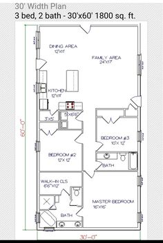 30x60 Floor Plan Barndominium Floor Plans Cabin Floor Plans House Plans