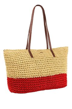 Crochet Tote in Tan & Red