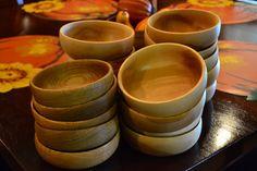 Maple and oak salad bowls
