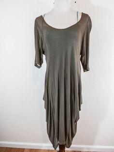 HETEROCLITE Sz 4/l-XL TOBACCO BROWN SEMi-SHEER LAGENLOOK SLIP ON DRESS  #Heteroclite #Knitlagenlookdress #any