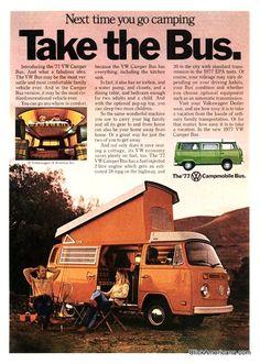 "1977 VW Bus ad - ""Take the Bus"" Orange Campmobile bus"