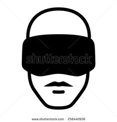 Man wearing a virtual reality goggle headset icon - stock vector