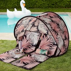 Pottery Barn Teen x Emily & Meritt Desert Palm Beach Lounger and Sun Shade Tent  You're all set for style and a day at the beach with our folding sun shade and lounger.