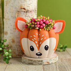 Go WILD this Halloween with a foxy painted pumpkin from the A. Moore Craftolog… Go WILD this Halloween with a foxy painted pumpkin from the A. Pumpkin Art, Pumpkin Crafts, Cute Pumpkin, Pumpkin Carving, Carving Pumpkins, Pumpkin Recipes, Citouille Halloween, Halloween Pumpkins, Halloween Decorations