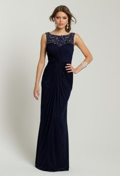 The dark and sultry hues combined with the embroidered/beaded cutout detail at the neckline make this dress a true style beauty that deserves a place on the red carpet. The luxe fabric combines brocade with chiffon in a deep navy hue known as midnight - so romantic!