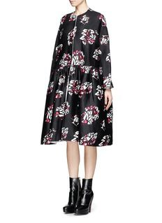 MS MIN Oversized floral print wool-cashmere coat