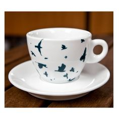 navy birds tea cup and saucer set by kate moby ...