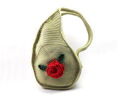 Crochet Teardrop Handbag Olive Summer Purse Paisley Bag by Aimarro, $92.00