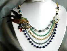 Steampunk Feather Statement Necklace - Peacock Multi Chain Art Deco. $180.00, via Etsy.