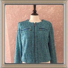 Teal Blue Tweed Jacket Boston Design Blazer Womens Small S 4 #BostonDesign #BasicJacket