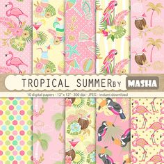Tropical digital papers: TROPICAL SUMMER with by MashaStudio