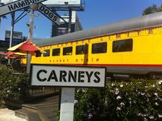 Carney's in Los Angeles, CA - Hot Dog & Hamburgers in an old train.  Was Elvis' favorite hot dog spot.  Super Americana!