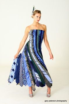 Midnight Blues NECKTIE Ballgown - Repurposed Fashion   Trashion   Refashion   Upcycled Fashion