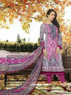 White and pink printed long suit with embellished neckline White and pink cotton printed long Comes with matching bottom and Can be stitched upto bust size 42 inches Pakistani Salwar Kameez, Pakistani Suits, Ethnic Fashion, Indian Fashion, Womens Fashion, Indian Dresses, Indian Outfits, Suits For Women, Clothes For Women