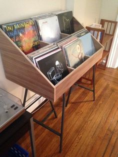 Don't hide your vinyl records, display them in a cabinet shelf holder display like this one! It is truly furniture for vinyl. Put your vinyl records on display or put it in the back room for vinyl record storage. Vinyl Record Display, Record Shelf, Record Cabinet, Vinyl Record Storage, Lp Storage, Diy Vinyl Storage, Storage Ideas, Vinyl Record Stand, Vinyl Record Holder