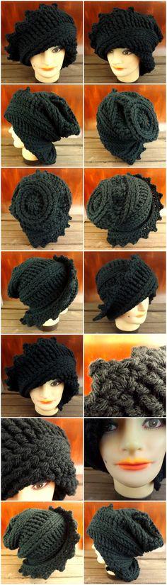 LAUREN Crochet Wool Beanie Hat in Black